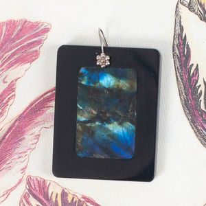 Jewelry - Black Blue Marble Slide Pendant